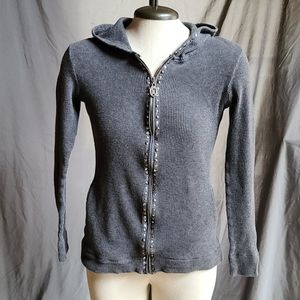Christine Alexander Hoodie, Size Small, Gray Studs